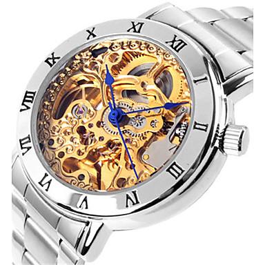 Dames mechanische horloges Skeleton horloge Modieus horloge Automatisch opwindmechanisme Waterbestendig Legering Band Zilver Roze