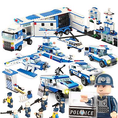 SHIBIAO أحجار البناء ألعاب سفينة حربية طيارة شرطة العسكرية اصنع بنفسك البلاستيك للجنسين 1040 قطع