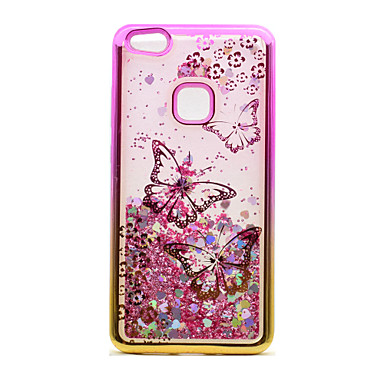 best website 586e0 ae779 Case For Huawei P10 Lite / P8 Lite (2017) / Huawei Plating / Flowing Liquid  / Transparent Back Cover Butterfly / Glitter Shine Soft TPU
