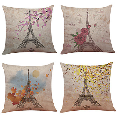 Set von 4 paris Eiffelturm Leinen Hause Büro Sofa Platz dekorative Kissenbezüge (18