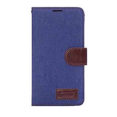 Maska Pentru Samsung Galaxy Titluar Card Portofel Cu Stand Întoarce Carcasă Telefon Culoare solidă Greu textil pentru Note 5 Note 4 Note