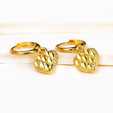 Damen Tropfen-Ohrringe Einzigartiges Design Anhänger Stil Retro Herz Grabado Kupfer Herz LOVE Schmuck Hochzeit Party Verlobung Geschenk