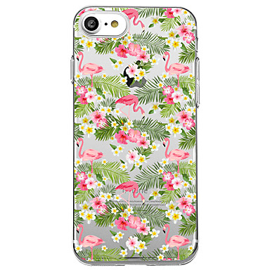 Hülle Für Apple Transparent Muster Rückseitenabdeckung Flamingo Blume Weich TPU für iPhone 7 plus iPhone 7 iPhone 6s Plus iPhone 6 Plus