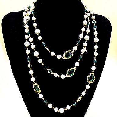 Damen Stränge Halsketten Layered Ketten Synthetischer Smaragd Schmuck Smaragdfarben Aleación Modisch Euramerican Simple Style Schmuck Für