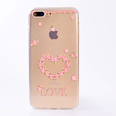 hoesje Voor Apple iPhone 7 Plus iPhone 7 Transparant Patroon Achterkant Hart Bloem Zacht TPU voor iPhone 7 Plus iPhone 7 iPhone 6s Plus