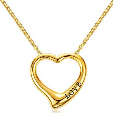 Pentru femei Logo Coliere cu Pandativ / Coliere - Teak, Oțel titan Inimă Declarație, Personalizat, Γεωμετρικά Auriu, Argintiu, Roz auriu Coliere Pentru Cadouri de Crăciun, Petrecere, Zi de Naștere