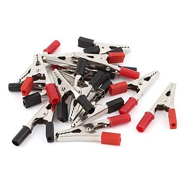 30 قطع اللوح اختبار التمساح كليب المشبك 55 ملليمتر أحمر أسود