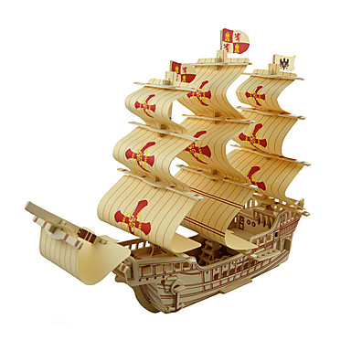 بانوراما الألغاز قطع تركيب3D اللبنات DIY اللعب سفينة خشب ألعاب البناء و التركيب