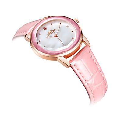 Dames Modieus horloge Kwarts Leer Band Wit Blauw Roze