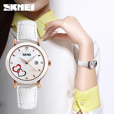 SKMEI Dames Dress horloge Modieus horloge Japans Kwarts Leer Band Bedeltjes Vrijetijdsschoenen Luxueus Zwart Wit Rood Bruin Groen