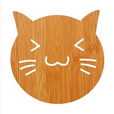 1pc anti-scald material de lemn cheshire forma de pisica izolatie