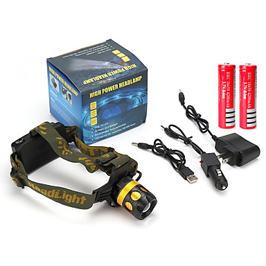 Hoofdlampen LED 900 Lumens 4.0 Modus Cree Q5 2 x 18650 batterijen Oplaadbare batterij Verstelbare focus Schokbestendig Krasbestendig