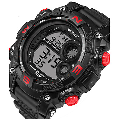 Herrn digital Armbanduhr Smartwatch Sportuhr Kalender LED Nachts leuchtend Stopuhr Fitness Tracker Silikon Band Freizeit Modisch Schwarz