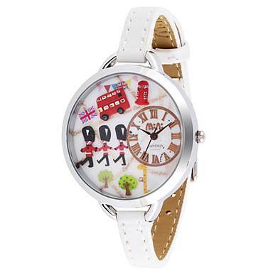 Dames Modieus horloge Kwarts Leer Band Wit Rood