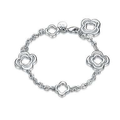 Dames Meisjes Armbanden met ketting en sluiting Kristal Vriendschap Modieus Rock Punk Verzilverd Zilver Bloem Sieraden Kerstcadeaus