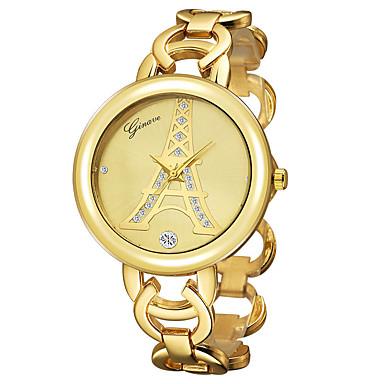 Dames Polshorloge Kwarts 18 Karaats Verguld Band Eiffeltoren Bangle Goud