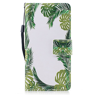 Voor huawei p8 lite (2017) p10 case hoesje groene bladeren patroon geverfd pu huid materiaal kaart stent portemonnee telefoon hoesje p10