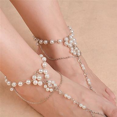 preiswerte Körperschmuck-Damen Perlen Barfußsandalen Fußschmuck Blume damas Modisch Künstliche Perle Fusskettchen Schmuck Gold / Silber Für Alltag Normal