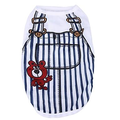 قط كلب T-skjorte ملابس الكلاب كاجوال/يومي مخطط أزرق داكن أزرق زهري أزرق فاتح