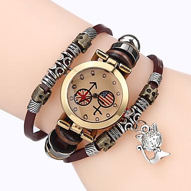 Damen Armband-Uhr Chinesisch Quartz Schlussverkauf Leder Band Freizeit Cool Schwarz Weiß Blau Braun