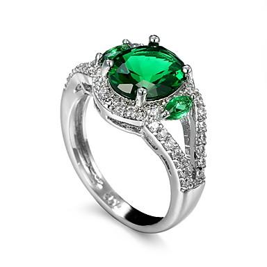 Heren Ring Synthetische Smaragd Groen Zirkonia Smaragd Legering Anderen Uniek ontwerp Euramerican Modieus Bruiloft Speciale gelegenheden