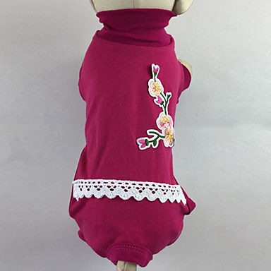 Pisici Câine Tricou Salopete Pijamale Pantaloni Îmbrăcăminte Câini Floral / Botanic Trandafiriu Verde Bumbac Costume Pentru animale de