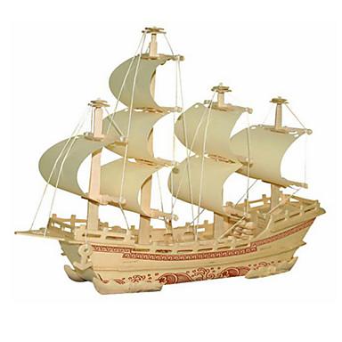قطع تركيب3D مجموعات البناء سفينة لهو خشب كلاسيكي