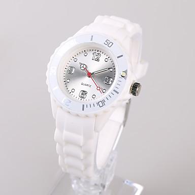 Dames Modieus horloge Japans Japanse quartz / Silicone Band Informeel Wit Zilver