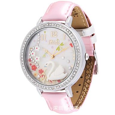 Dames Modieus horloge Kwarts Leer Band Wit Roze