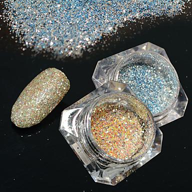 2bottles / set 0.2g / sticlă de moda diy strălucitor pigment nail art platină sclipici puterea galaxie efect de stea superba decorare