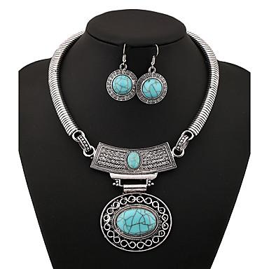 للمرأة مجموعة مجوهرات - قديم بيضوي ذهبي / فضي / أزرق مجموعة مجوهرات من أجل حزب / يوميا