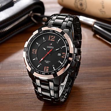 Herrn Modeuhr Armbanduhr Einzigartige kreative Uhr Armbanduhren für den Alltag Quartz Kalender Großes Ziffernblatt Edelstahl BandCool