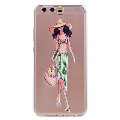 hoesje Voor Huawei Transparant Patroon Achterkantje Sexy dame Cartoon Zacht TPU voor Huawei P10 Plus Huawei P10 Lite Huawei P10 Huawei P8