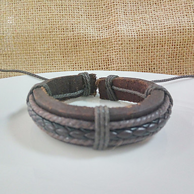 Dames Lederen armbanden Sieraden Vriendschap Modieus Vintage Movie Jewelry Leder Cirkelvorm Ronde vorm Geometrische vorm Sieraden Voor