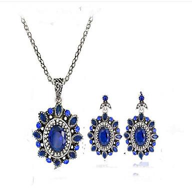 Dames Bruidssieradensets Synthetische Sapphire Verzilverd Legering Bloem Vintage Euramerican Feest Evenement/Feest Dagelijks gebruik