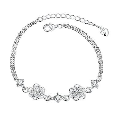 Dames Meisjes Armbanden met ketting en sluiting Kristal Vintage Vriendschap Modieus Verzilverd Bloem Sieraden Kerstcadeaus Bruiloft Feest
