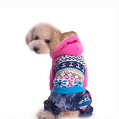 كلب هوديس ملابس الكلاب هندسي أزرق زهري قطن بطانة فرو كوستيوم للحيوانات الأليفة للرجال للمرأة كاجوال / يومي