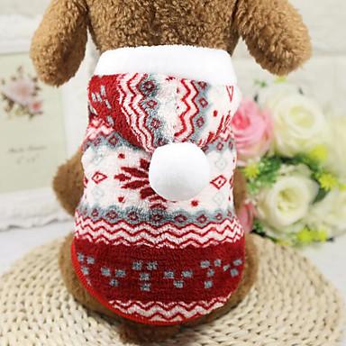 Hond Hoodies Hondenkleding Sneeuwvlok  Grijs Rood Pluche stof Kostuum Voor huisdieren Heren Dames Casual/Dagelijks