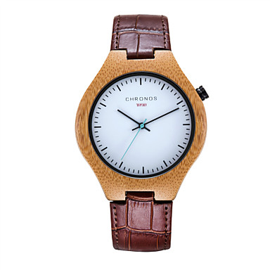 Heren Dress horloge Modieus horloge Kwarts Hot Sale Echt leer Band Informeel Zwart Bruin Groen