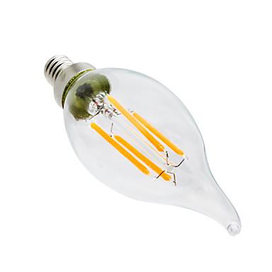 YWXLIGHT® 4W 300-400lm E12 LED-kaarslampen CA35 4 LED-kralen COB Dimbaar Decoratief Warm wit 110-130V