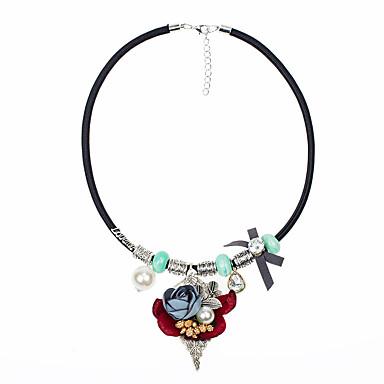Damen Blume Statement Ketten  -  Euramerican Modisch Rosa Leicht Grün Modische Halsketten Für Party