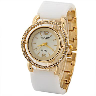 Damen Simulierter Diamant Uhr Einzigartige kreative Uhr Modeuhr Chinesisch Quartz Imitation Diamant Metall Band Glanz Schwarz Weiß Gold