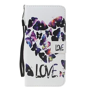 Maska Pentru Apple iPhone 7 Plus iPhone 7 Titluar Card Portofel Stras Cu Stand Întoarce Model Carcasă Telefon Cuvânt / expresie Fluture