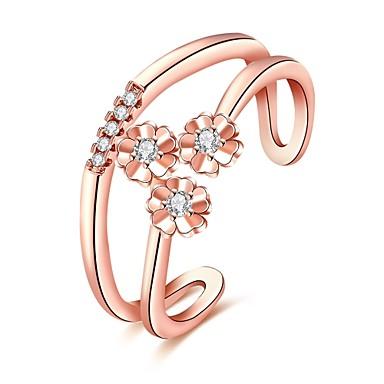 Damen Ring Kubikzirkonia Personalisiert Blumig Luxus Geometrisch Einzigartiges Design Klassisch Retro Strass Böhmische Grundlegend Herz