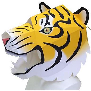 Halloween-Masken Tiermaske Papiermodelle Spielzeuge Tiere Heimwerken Quadratisch Hunde Löwe Bär Tiger 3D Hartkartonpapier Zum Gruseln