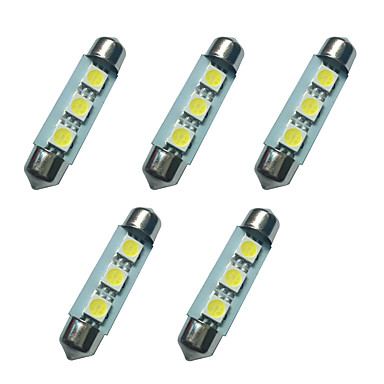 5 قطع مزدوجة وأشار أضواء ليد 41 ملليمتر 1 واط 3smd 5050 رقاقة 80-100lm 6500-7000 كيلو dc12v القراءة ضوء لوحة ترخيص أضواء