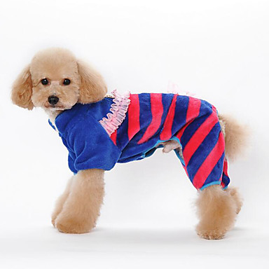 كلب حللا ملابس الكلاب كاجوال/يومي مخطط برتقالي أزرق زهري كوستيوم للحيوانات الأليفة