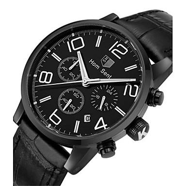 Herrn Modeuhr Armbanduhr Quartz Leder Band Schwarz