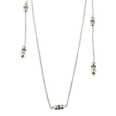 Damen Irregulär Gestalten Anhänger nette Art doppelt-Perlen Künstliche Perle Halsketten Anhängerketten Ketten Imitierte Perlen Künstliche