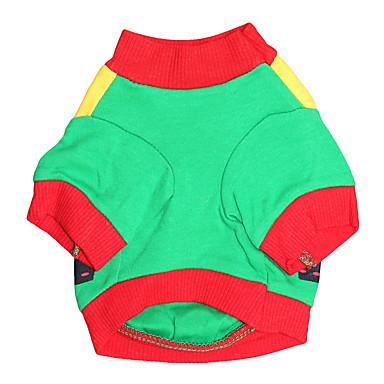 Hond T-shirt Hondenkleding Geometrisch Rood Groen Katoen Kostuum Voor huisdieren Casual/Dagelijks Kerstmis